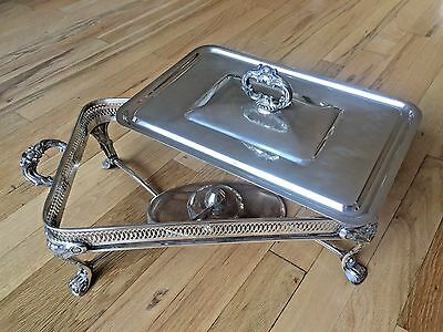 Vintage Footed Silver Plate Rectangular Chafing Dish w/ Alcohol Wick Oil Burner