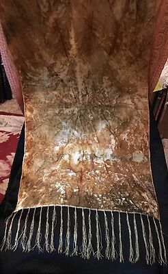"Ant 1920's VELVET RUNNER, PIANO SCARF, Tie Dye Excellent 33"" x 19"" A GREAT ONE!"