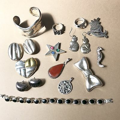 Vintage Sterling Silver Jewelry Lot, Not Scrap, 198 Grams Net Wt