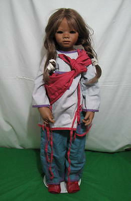 """ANNETTE HIMSTEDT """"ARAPATI"""" DOLL 2005 LIMITED EDITION 377 w COA 34"""" TALL KINDER"""