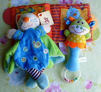 Gift Set for Baby ~ Comfort Blanket, Cloth Book & Rattle ~ Free Post ~ New