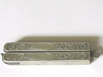 Antique Sterling Silver Case Chatelaine Folding Scissors # 26