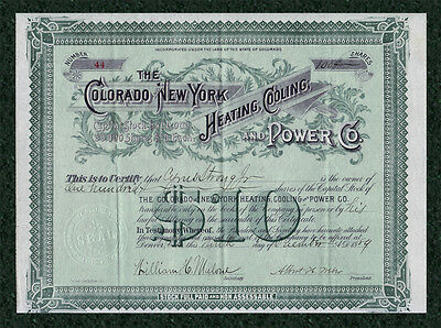 1889 COLORADO & New York Heating Cooling & Power Co. Stock Certificate DENVER