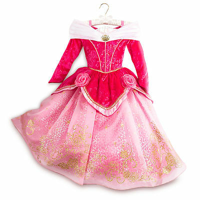 Disney Store Limited Deluxe Sleeping Beauty Aurora Costume Dress 5/6 And Crown
