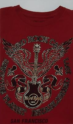 Men's Red Save The Planet San Francisco Hard Rock Cafe T-Shirt Size Small