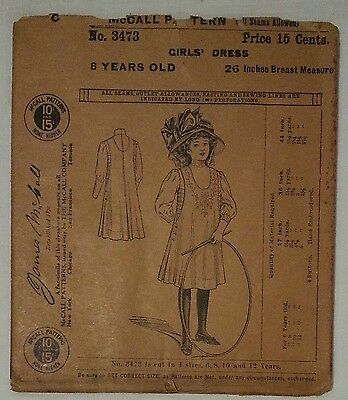 SUPER RARE Antique McCALL PATTERN 3473 (circa 1900)! Girls Dress (8 Year Old)
