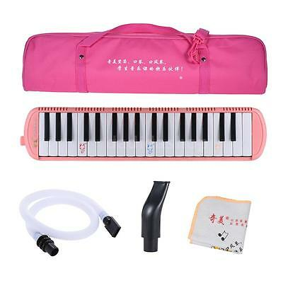 QIMEI 37 Piano Style Keys Melodica for Beginner Kids with Carrying Bag Pink X4F4