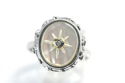 D080 Mother Pearl Sterling 925 5.1g BGE I Beleive Ring size 9