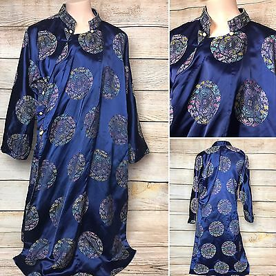 Chinese Japanese Oriental Kimono Robe Gown Print Blue Occasion Dress Large L