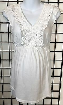 Oh Baby By Motherhood Women's Maternity White Short Sleeve Top Ruffle Size Large