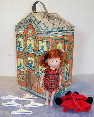 """MADELINE Old House in Paris WARDROBE carrying CASE with rod, hangers & 8"""" DOLL"""