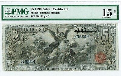 """$5 1896 """"Large Size"""" Educational Silver Certificate PMG """"choice fine"""" """"repaired"""""""