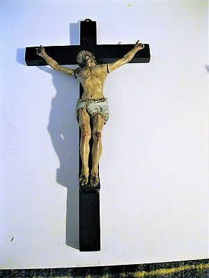 Beautiful Antique Carved Wood Crucifix With Amazing Detail Polichromed
