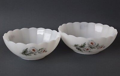 Vintage Retro 60s/70s ARCOPAL MILK GLASS BOWLS Floral Daisy Decal MADE IN FRANCE