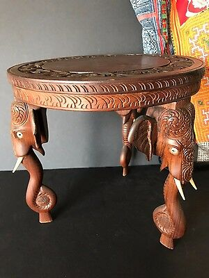 Old Himalayan Carved Elephant Rosewood Side Table …beautiful & unique accent...