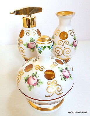 MOSER Bohemian Cased Glass trio- ROSES and gold gilding vanity set