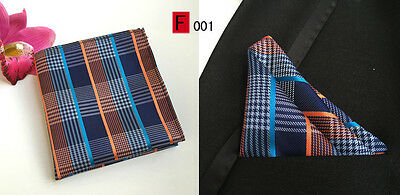 Blue and Orange Striped Patterned Pocket Square