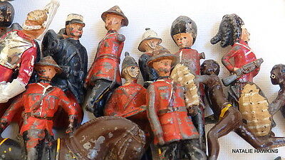 WAR TORN Antique cast iron toy soldiers etc...