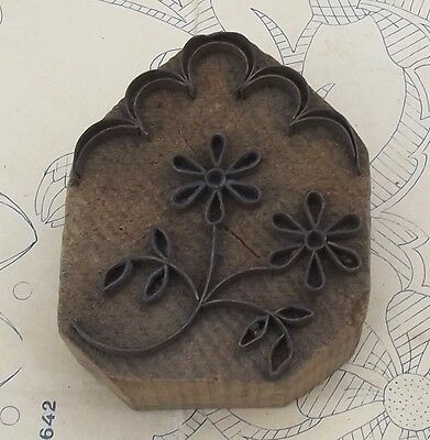 Rare Antique French Stamp Fabric Printing Block Olive wood hand hewn metal