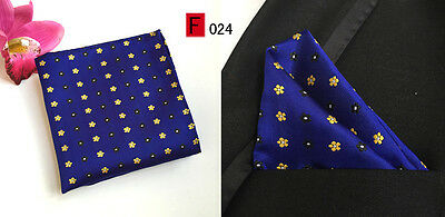 Blue and Yellow Patterned High Quality Pocket Square Handkerchief
