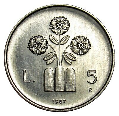 San Marino 5 Lire coin 1987 KM#203 UNC 15th Anniv. Resumption of Coin -