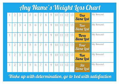 Personalised Weight Loss Chart - 6 stone - Laminated - 1 x star stickers