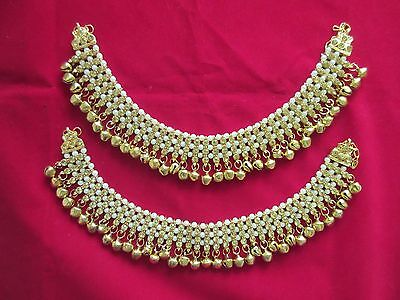 Indian Bollywood Anklet Payal Fashion Gold Silver Tone Pearls Belly Dance Jewelr