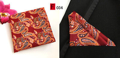 Red, Blue and Orange Patterned High Quality Pocket Square Handkerchief