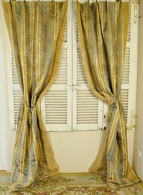 Spectacular Pair Long Antique French Silk Damask Chateau Curtains C1900 - B851
