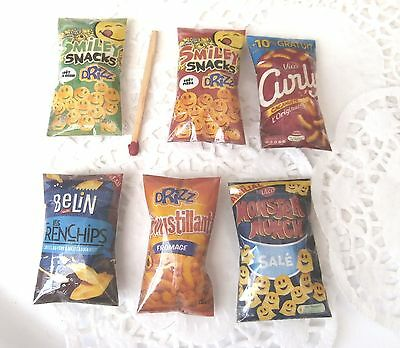 6 Sachet aliments factices Miniatures Maison Poupée Vitrine Doll House Food 1/12