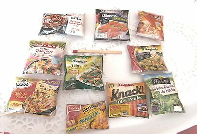 10 Sachets aliments factices Miniatures Maison Poupée Vitrine Doll House Food