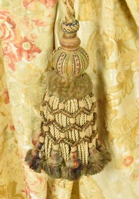 Superb Antique French Corded Chateau Curtain Tie Back, Plumptious Tassel, C1880