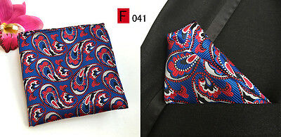 Blue, Red and White Patterned High Quality Pocket Square Handkerchief