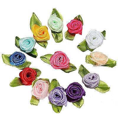 100pcs Mini Satin Ribbon Rose Flower Leaf Wedding Decor Appliques Sewing DIY BF
