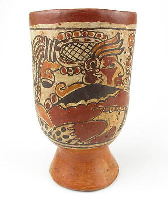 Antique  Mexico Aztec Maya  terracota potterry drinking vessel or Vase
