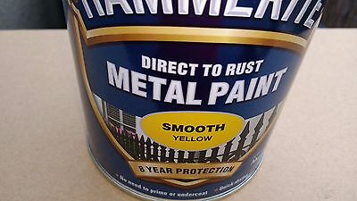 Hammerite Direct To Rust Metal Paint - Smooth Finish - Yellow 750 ml