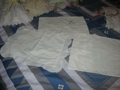 3 Vintage Baby Pillowcases with Embroidery