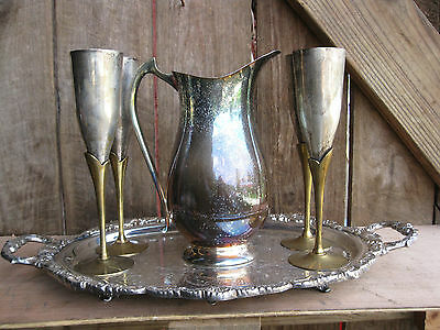 Vintage Silver Plate Pitcher with Brass Stemmed Goblets and Serving Tray