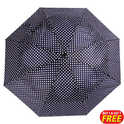 Blue Spot Vented Windproof Umbrella 1+1 Free Brolly (For Rain, Downpours)