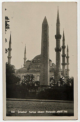 Istanbul, Sultan Ahmet Parkinde Dikiii Tas ~ An Old Real Photo Postcard (Z75)