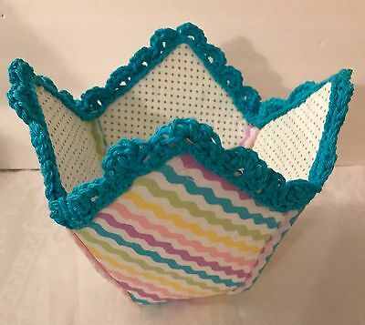 Pastel Baby Basket Quilted -  Handmade - Great for Nursery or Kitchen