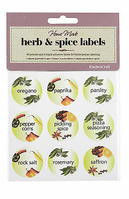 Kitchen Craft Home Made Herb Spice Jar Labels Printed Round Self Adhesive Pk 45