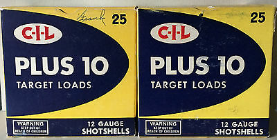 2 Vintage CIL C-I-L Plus 10 Target Load Empty Shotgun Shell Boxes