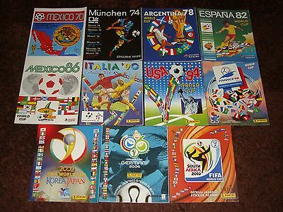 Unique collection lot of 11 PANINI Football World Cup official albums 1970-2010