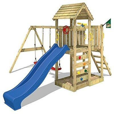 Large Wooden Playhouse Playground Climbing Frame Slide Outdoor Kids Wendy House