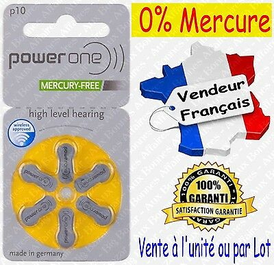 Piles Auditives 0% Mercure 1,45V Power One VARTA P10 PR70 A10 ( code JAUNE )