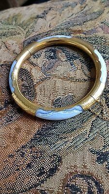Chinese Vintage Blue Lace Agate & Gilded Bracelet.