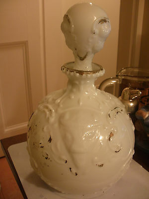 old antique decanter w/ buffalo heads glass opaque milk glass makers mark M