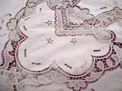 Vintage hand embroidery cotton TABLECLOTH ecru&crochet NEW 2.75x182cm 12 napkins