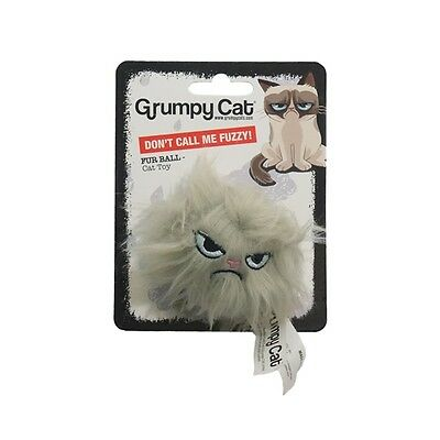 Official Grumpy Cat Catnip Fur Ball Toy with Rattle, Cats Kittens